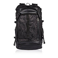 Black camo drawstring backpack