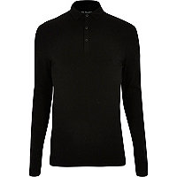 Black muscle fit long sleeve polo shirt
