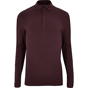 Maroon muscle fit polo top