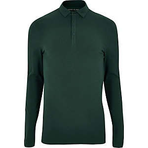 Dark green muscle fit polo top