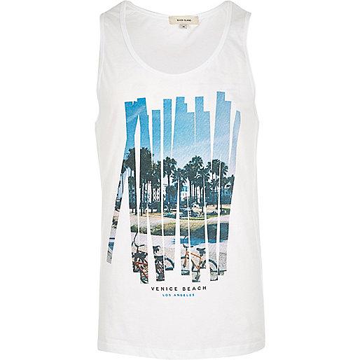 "Weißes ärmelloses Top mit ""Venice Beach""-Print"