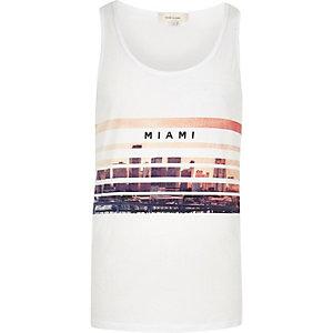 White Miami scene print tank