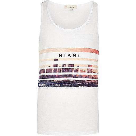 Débardeur imprimé Miami blanc