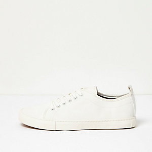 White textured lace-up trainers