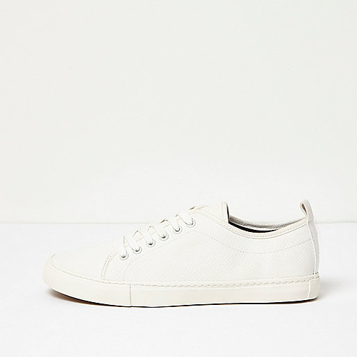 White textured lace-up sneakers