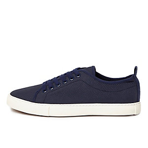 Navy textured lace-up sneakers