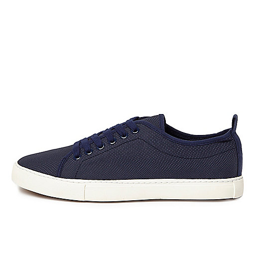 Navy textured lace-up trainers