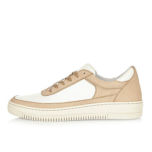 Stone leather panel sneakers