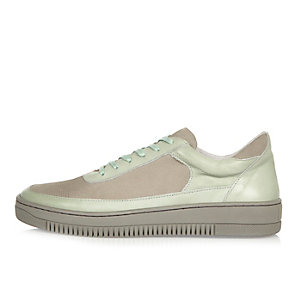 Mint leather panel sneakers
