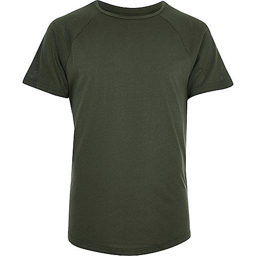 Khaki mesh sleeve slim fit T-shirt