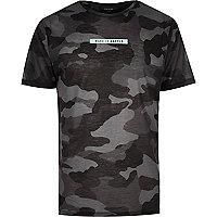 Black camouflage slogan print T-shirt