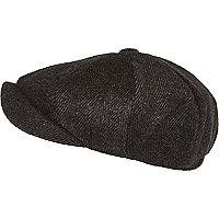 Black herringbone baker boy hat