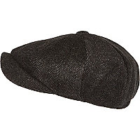 Black herringbone baker boy hat