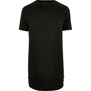 Black longline triple layer hem T-shirt