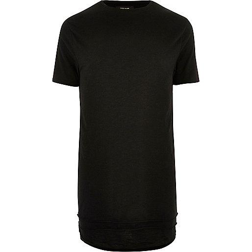 Black longline triple layer hem T-shirt