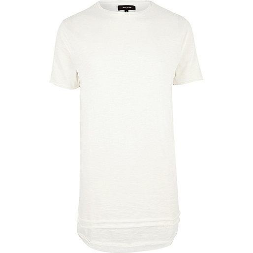 White longline triple layer hem T-shirt