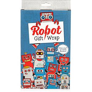 Blue robot gift wrap