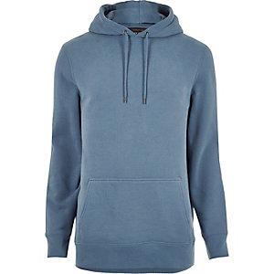 Sweat à capuche bleu clair en coton