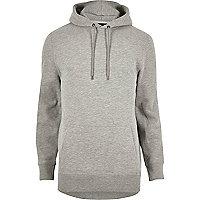 Sweat à capuche en coton gris chiné