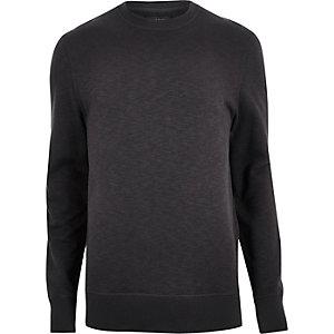Schwarzes Sweatshirt mit seitlichem Reißverschluss