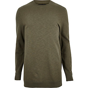 T-shirt long vert foncé chiné à manches longues