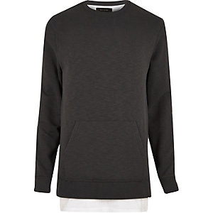 Black washed double layer sweatshirt