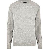 Grau meliertes Sweatshirt mit Rundhalsausschnitt