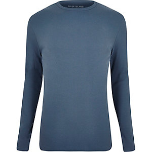 Light blue crew neck long sleeve T-shirt