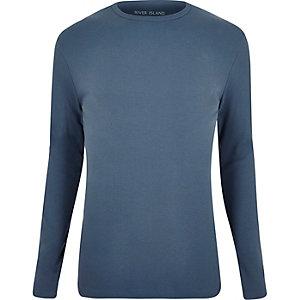 T-shirt bleu clair côtelé cintré