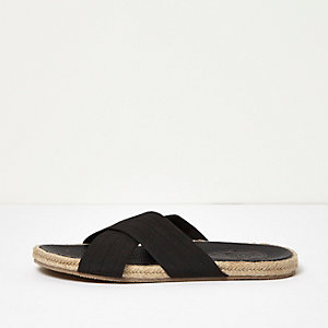 Black textile cross over jute sandals