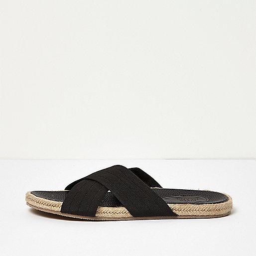 Black textile cross over jute sandals