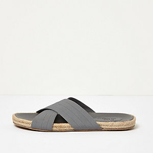 Grey  textile cross over jute sandals