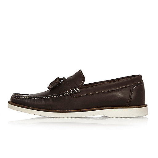 Dark brown leather loafers