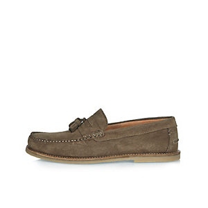 Olive suede loafers