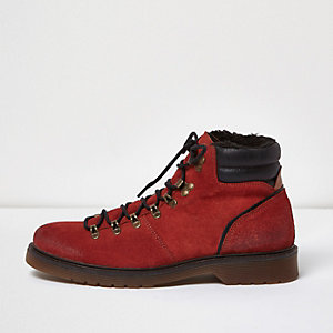 Orange suede hiking boots