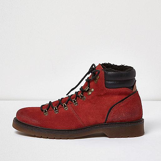Orange suede hiking boots