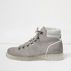 Grey suede hiking boots