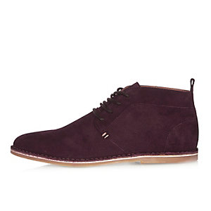 Dark red suede desert boots