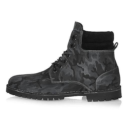 Grey camo nubuck boots