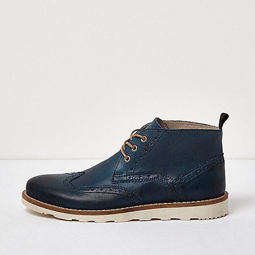 Blue leather brogue boots