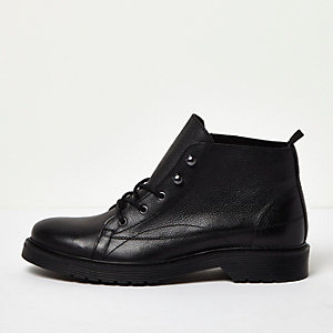 Black tumbled leather ankle boots