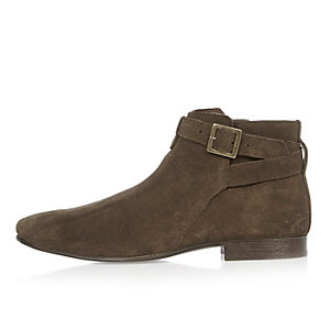 Olive suede buckle Chelsea boots