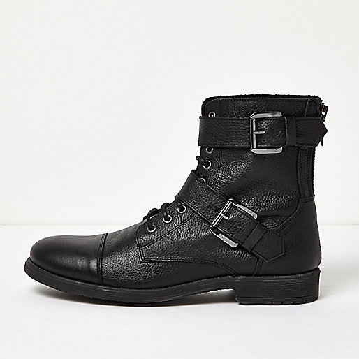 Black leather buckle biker boots