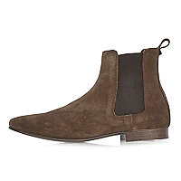Brown suede Chelsea boots