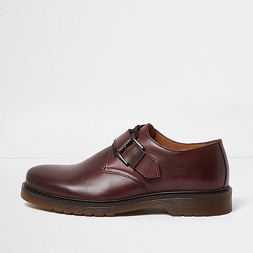 Burgundy leather monk strap shoes