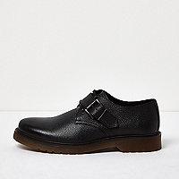 Chaussures en cuir noir à bride et boucle