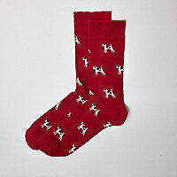 Red terrier print ankle socks