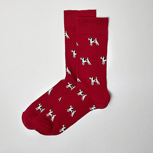 Red terrier print ankle socks
