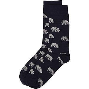 Navy rhino print socks
