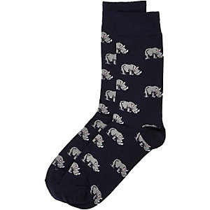 Navy rhino print ankle socks